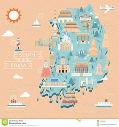 South Korea Travel Map - Download From Over 43 Million High Quality Stock Photos, Images, Vectors. Sign up for FREE today. Image: 63059259