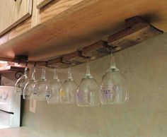 Wine Barrel Stave Under Cabinet Hanging Glass Rack by CorkToBarrel Hanging Wine Glass Rack, Wine Glass Holder, Rack Design, Küchen Design, Design Ideas, Wine Barrel Crafts, Wine Barrel Furniture, Barrel Projects, Wine Stains