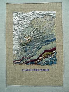 'Crinkle' by Carol Walker in 2012. Based on a photo of thin puddle ice. Embroidered area is 5-inches wide by 6-inches high. © 2015 Carol Walker. All rights reserved.