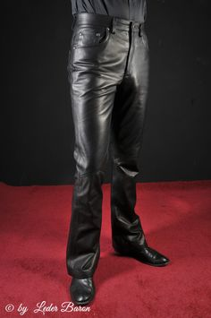 Leder-Fashion24 - Leather Flare Pants, black