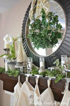 Green silver Christmas mantle