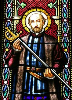 St. Ignatius Loyola, pictured on stained glass at Montserrat.
