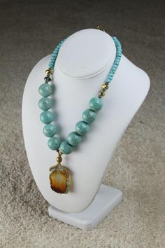 Chunky #Turquoise #Beaded Statement Necklace with Blue Agate Pendant