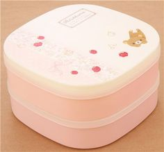 big cream-pink Rilakkuma bear strawberry Bento Box Lunch Box 1