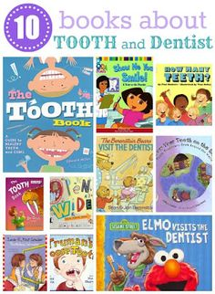 """10 children books about Tooth and Dentist. Might have to get the Elmo one for the Madster one of these days. Maybe then she won't be """"scared 'Aunt Amber. She mess with my mouth"""" when gives her a check up ; Dental Humor, Dental Hygiene, Dental Care, Dental Health Month, Oral Health, Dental Kids, Children's Dental, Dental Braces, Childrens Books"""