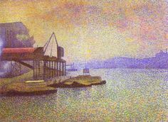 Lemmen, Georges - View of the Thames - Pointilism - Oil on canvas - Landscape - Rhode Island School of Design Museum - Providence, RI, USA