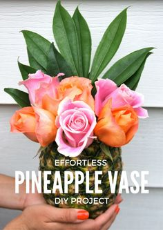 An effortless diy project that shows you how to turn a pineapple into a vase for a floral arrangement. Perfect for summer entertaining.