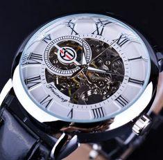 6a4dc64213c Forsining 3d Logo Design Hollow Engraving Black Gold Case Leather Skeleton  Mechanical Watches Men Luxury Brand Heren Horloge