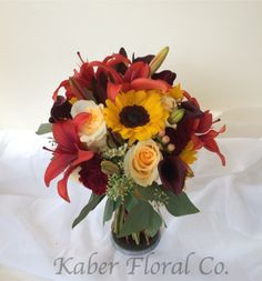 Great Fall Bouquet with Sunflowers, Lilies, and Roses