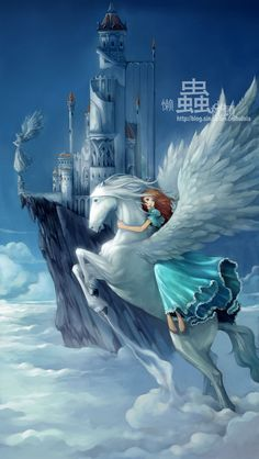 The Art Of Animation - sky castle with pegasus and girl. Mythical Creatures Art, Magical Creatures, Fantasy Creatures, Unicorn And Fairies, Unicorn Art, Pegasus, Unicorn Pictures, Winged Horse, The Last Unicorn