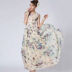 Summer style Fashion women slim  chiffon+polyester butterfly floral V neck sleeveless pullover dress brand new  M, L, XL-in Dresses from Women's Clothing & Accessories on Aliexpress.com | Alibaba Group