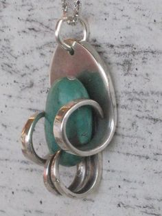 Vintage Silverplate Fork Necklace Upcycled Silverware Jewelry with Turquoise Colored Stone