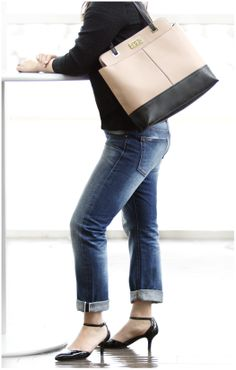 Need to refresh the basics? Start with kitten heels and a color block tote. #DSW #shoelover