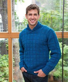 A combination of updated styling and interesting texture are combined for this comfortable man's knit pullover. The shawl collar is a nice fashion detail that makes wearing a shirt optional. Knitting Designs, Knitting Patterns Free, Free Knitting, Free Pattern, Boys Sweaters, Men Sweater, Cardigans, Crochet Men, Mens Jumpers
