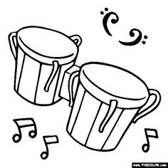 Free Musical Instrument Coloring Pages Color In This Picture Of Bongo Drums And Others With Our Library Online