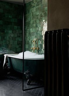 The Nordroom - An Idyllic Swedish Home In The Woods With A Stunning Green Bathroom Source by pequignotanne Bathroom Bad Inspiration, Bathroom Inspiration, Modern Bathroom, Small Bathroom, Bathroom Ideas, Nature Bathroom, Bathroom Closet, Bathroom Goals, Minimalist Bathroom