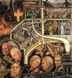 Modern Industry. New York, New Workers School (1933). Painted by Diego Rivera. Fresco
