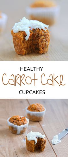 Irresistibly fluffy + secretly healthy frosting recipe + no one can ever tell they aren't full of fat and calories! Full recipe here: http://chocolatecoveredkatie.com/2015/04/01/healthy-carrot-cake-cupcakes/