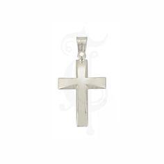 Βαπτιστικός σταυρός για αγόρι ΤΡΙΑΝΤΟΣ από λευκόχρυσο Κ14 σε γυαλιστερή επιφάνεια με κλίση προς το κέντρο | Βαπτιστικοί σταυροί ΤΣΑΛΔΑΡΗΣ στο Χαλάνδρι #βαπτιστικός #σταυρός #Τριάντος #αγόρια