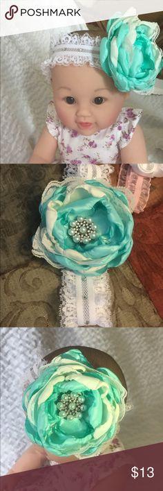 Children headband Blue and white , child's headband handmade handmade Accessories Hair Accessories