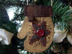 Felt Mitten with Star Christmas Ornament by rustiquecat on Etsy