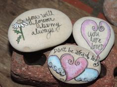 3 different styled Valentine pocket stones, authentic Lake Erie beach stone hand painted, inspirational sayings.