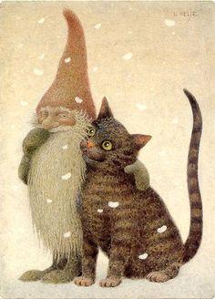 Cats in Art and Illustration: Lennart Helje. Art And Illustration, Photo Chat, Fairy Art, Whimsical Art, Pixies, Cat Art, Gnomes, Illustrators, Folk Art