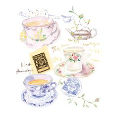 Watercolor painting Tea poster, Kitchen art print, French home decor, 8X10, blue print on Etsy, $30.00
