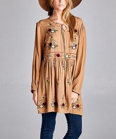 $36.99 Love this Mocha Floral Lace-Up Shift Dress - Plus on #zulily! #zulilyfinds
