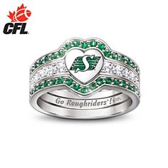 i love Saskatchewan Roughriders Engraved Womens Three Band Ring even though its green . Football Tailgate, Football Team, Go Rider, Three Band Rings, Saskatchewan Roughriders, Jewelry Box, Jewelery, Rough Riders, Engraved Rings