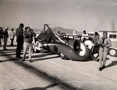 The Green Monster at Bonneville, Oct. 1964, being prepped for a speed run