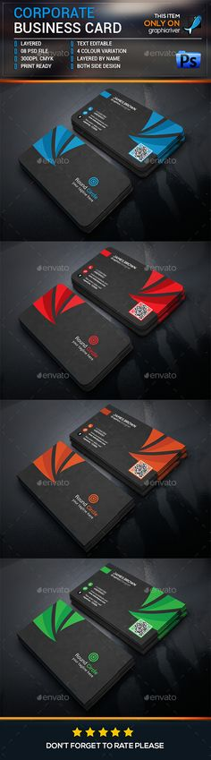 Corporate Business Card Template PSD. Download here: https://graphicriver.net/item/corporate-business-card-/17120227?ref=ksioks