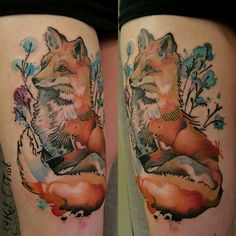 Neo Traditional Fox Tattoo on Thigh | Best Tattoo Ideas Gallery