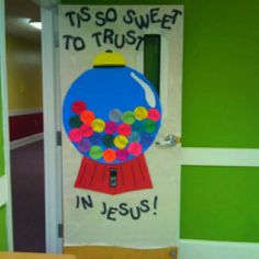 Cute! This is on the door of a Sunday School classroom, but we could do this to hang on the wall, or even as individual crafts for the kids to do and take home.