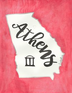 Hand Painted  Watercolor-Athens Georgia by GracefullyMessy on Etsy
