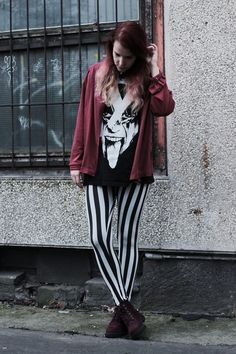 Black and red with striped trousers. Grunge outfit. More photos on the frogoncatwalk.com | IG @sofibalogh