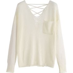 Beige V Neck Criss Cross Back Pocket Sweater ($16) ❤ liked on Polyvore featuring tops, sweaters, beige, embellished sweaters, v-neck sweater, v-neck pullover sweater, beige sweater and long sleeve pullover