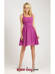 Fabulous Square Neckline Ruched Short Fuchsia Chiffon Bridesmaid Dresses