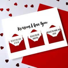 Personalised Reasons I Love You Love Letter Card. our three messages for them are written on tiny notes and nestled in mini red envelopes on the front of this card. It would even make a lovely 'just because' card for surprising your other half with! #Valentines #Cards