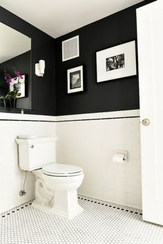 I Like This Toilet Better But Too Late Now, Right? The Tile Pattern On The  Floor Is A Single Row Of Black Hex Near The Perimeter. Black And White  Bathroom ...