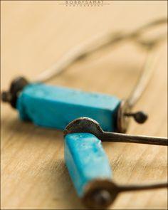 Turquoise Oxidized Sterling Silver Swing Earrings - Jewelry by Jason Stroud.