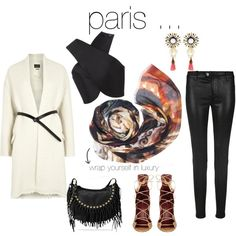what to pack for ... Paris by birdandknoll on Polyvore featuring Bird and Knoll cashmere-blend scarf, Carven, Isabel Marant, J Brand and Valentino