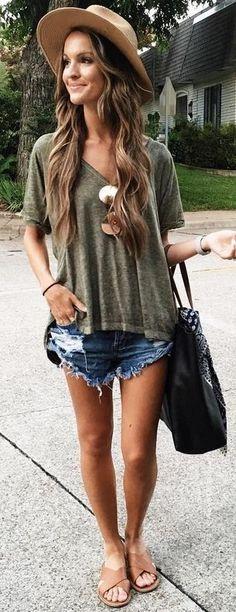 #summer #trendy #outfits  | Khaki + Denim