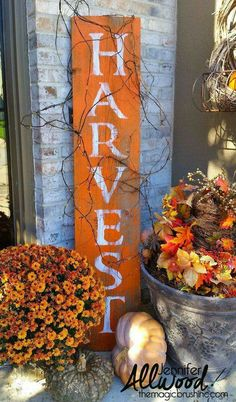 HARVEST Barnwood Sign for Fall - Halloween and Fall - harvest barnwood sign for fall, crafts, diy, seasonal holiday decor - Mums In Pumpkins, Autumn Decorating, Decorating Ideas, Decor Ideas, Fall Outdoor Decorating, Front Porch Decorating For Fall, Front Porch Fall Decor, Front Porch Signs, Diy Ideas