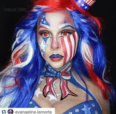 This is amazing.❤️❤️❤️ ・・・www.cosmetics.com Life, Liberty & The Persuit of Happiness Happy Independence Day, 'Merica!  products used:  @kryolanofficial cream color in clown white.  @mehronmakeup paradise paints in Red, White and Blue  @starcrushedminerals in Vampire Star, Crimson Rose, white noise. glitter in Dine me and Teal Sands in Lips.  @sugarpill Cosmetics in Velocity  @jeffreestarcosmetics @jeffreestar liquid lipstick in RedRum  @thekatvond @katvondbeauty shadeand light pa