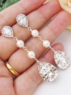 wedding earrings. i want pearls and crystal. these are magical.
