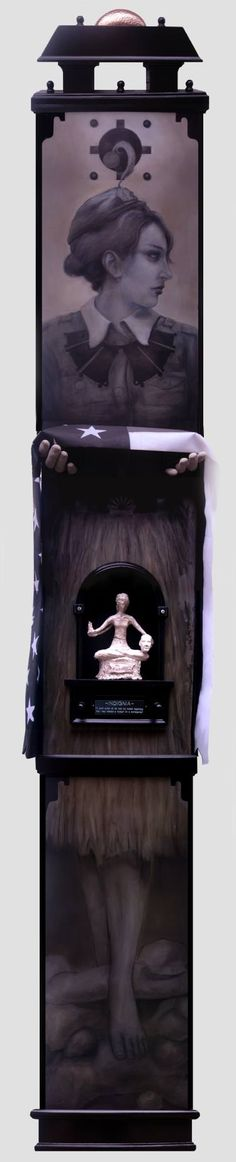 """Indignia"" Oil, Graphite, Plaster on Wood, Custom Frame by John Webster 82 H x 14 W x 8 in  #art  johnpwebster.com #JohnWebster"