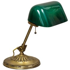 Banker's Lamp with Green Cased Glass Shade | From a unique collection of antique and modern table lamps at http://www.1stdibs.com/furniture/lighting/table-lamps/
