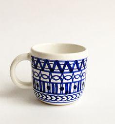 šálka malá - modranska (modrá) Ceramic Design, Pottery, Ceramics, Mugs, Tableware, Ceramica, Ceramica, Dinnerware, Pottery Marks