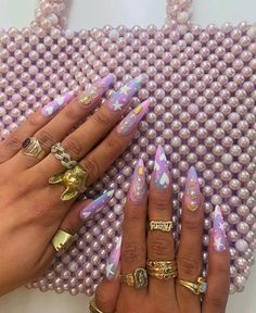 Nail art Christmas - the festive spirit on the nails. Over 70 creative ideas and tutorials - My Nails Cute Acrylic Nails, Acrylic Nail Designs, Dope Nails, Fun Nails, Ghetto Nails, Purple Nail Art, Purple Stiletto Nails, Nail Ring, Garra